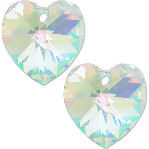 Swarovski Pendant 14mm Heart 6202 (2 Crystal AB Swarovski Crystal Heart Pendant 6202 14mm)