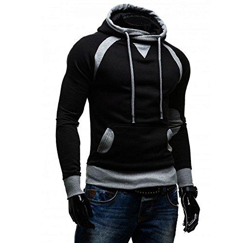 Negro Abrigos Invierno Sudadera Bolsillo Moda Hombre Sudaderas Básica Outerwear Zarlle Con Y Capucha Casual Bolsillos apq6qvgz