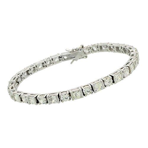 Tennis Bracelet Princess and Brilliant cut Solid 925 Sterling Silver 4.5mm (Brilliant Cut Princess Bracelet)