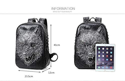 3D filles sac bandoulière Sac Close en cool PU mode cuir adapté loup portable Silver ordinateur de dos de tête les Mouth sac adolescentes 8TTt7