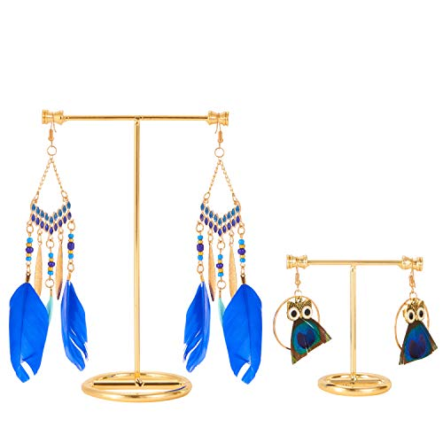 - 2PCS Earring Displays Stand T Shape Metal Showcase Earrings Holder Highly Polished Elegant Modern Design Dangle Earring T Stand Showroom Hoop Earring Organizer Rack Jewelry Tree for Women Girls, Gold
