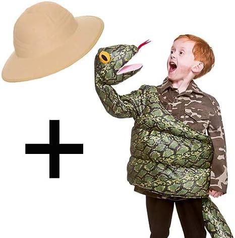 MFD Disfraz de Serpiente para niños + Sombrero de Safari: Amazon ...
