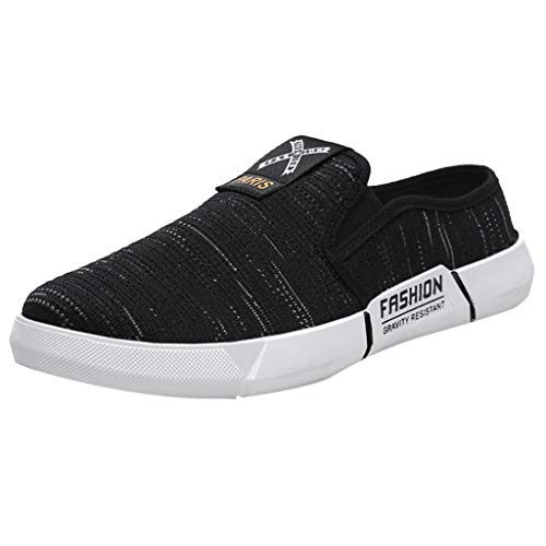 - iHPH7 Sneaker Comfortable Casual Athletic Shoe Fashion Shoe Breathable Canvas Outdoor Casual Shoes Lazy Men (41,Black)