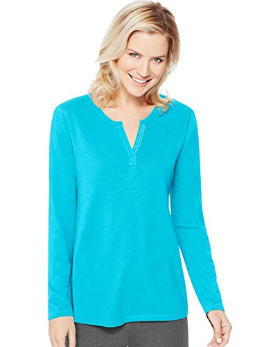 Hanes Women's Lightweight Split Neck Tunic, Bold Blue, X-Large