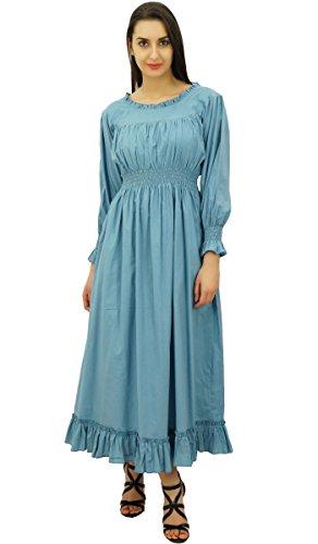 Bimba coton smock la taille des femmes long robe maxi casual Gris
