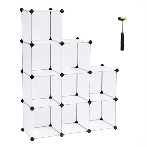 SONGMICS Cube Storage Organizer, 9-Cube Closet Storage Shelves, DIY Plastic Closet Cabinet, Modular Bookcase, Storage Shelving for Bedroom, Living Room, Office, with Rubber Hammer, White ULPC115S