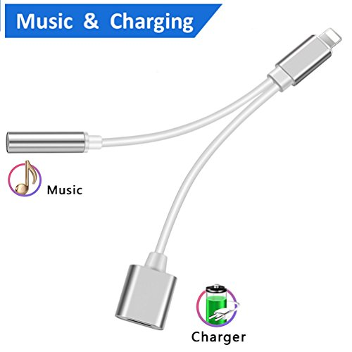 Lightning Jack Headphone Audio Adapter for 8/8 Plus iPhone 7/7 Plus/iPhone X 10/iPad/iPod, 2 in 1 Earphone Adapter and Charger Adaptor, Connector Lightning Cable Support iOS 10.3, iOS 11 (Silver)