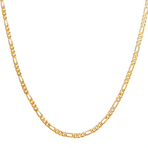 Followmoon 18k Gold Plated Flat Figaro Link Necklace Chain or Bracelet -Width 1.8mm-12mm,Length - Flat Link Large