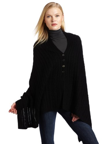 Sofia Cashmere Women's 100% Cashmere Rectangular Cable Button Cape Shawl, Black, One Size