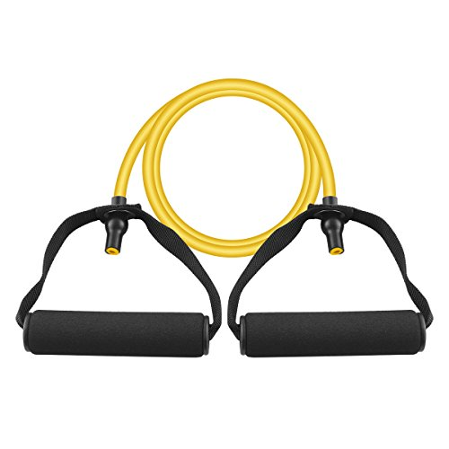 Pingmall Single Resistance Band Exercise TPE Tube Latex Free Workout Bands Fitness Strength Training Yellow 10 lbs – DiZiSports Store