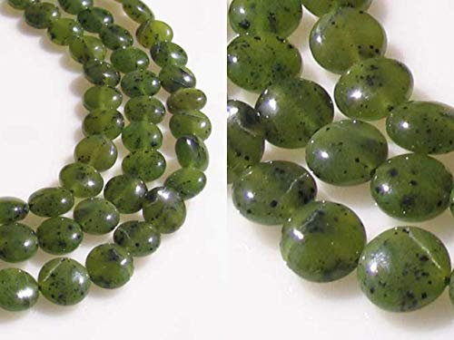 Premium Speckled Nephrite Jade Bead Strand for Jewerly Making (40 Beads) 110261 - Jade Disc Beads