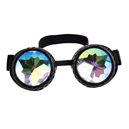 Kaleidoscope Rave Goggles Steampunk Glasses with Rainbow Crystal Glass ()