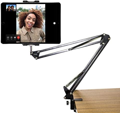 Long Swing Arm Tablet Stand, Tablet Mount, Holder Metal Clamp Phone Holder for Live Streaming, Video Chat, Desk, Bed, Kitchen, Office(Support 5-12.9 Inch Cell Phone and also Tablets)