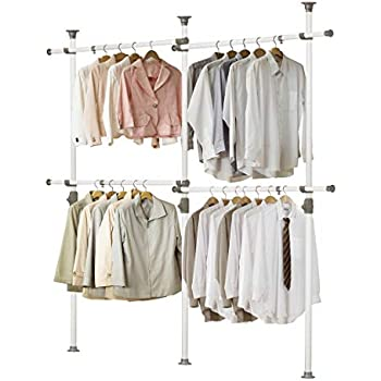PRINCE HANGER, One Touch Double 2 Tier Adjustable Hanger, Holds 80kg(176LB) per Horizontal bar, Clothing Rack, Closet Organizer,38mm Vertical Pole, ...