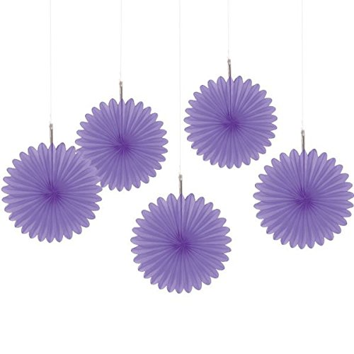 Amscan New Purple Mini Hanging Fans, 5 Ct. | Party Decoration