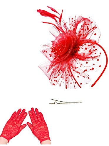 Fascinators Hat for Women Tea Party Headband Kentucky Derby Wedding Cocktail Flower Mesh Feathers Hair Clip (1-Red Set)