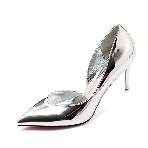 Xue Qiqi high-heel Schuhe Tipp feine mit Licht - bemalte Leder wilden Feen Schuhe silber Schuh 34 Silber 6 cm