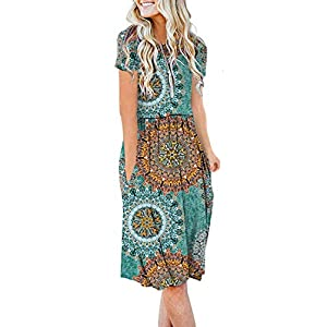 AUSELILY Women's Short Sleeve Pockets Empire Waist Pleated Loose Swing Casual Flare Dress (S, Print Green)