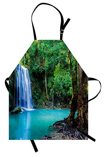 Ambesonne Heike Apron, Cascade in Topical Forest Lake Secret Natural Beauty Freshness Heaven Calm Picture, Unisex Kitchen Bib Apron with Adjustable Neck for Cooking Baking Gardening, Green -