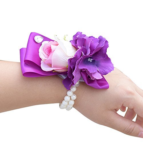 Abbie Home Wrist Corsage for Bridesmaid Purple Orchid Pink Rose Hand Flower Décor on Prom Wedding Party ()