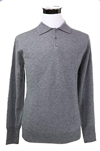 Shephe Men's Polo Cashmere Sweater with 3-Button Grey Small