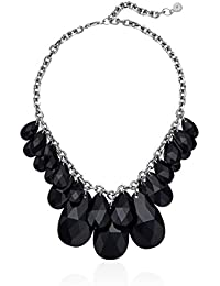 """""""Fashion Crystal Silver-Tone and Black Crystal Statement Collar Pendant Necklace"""