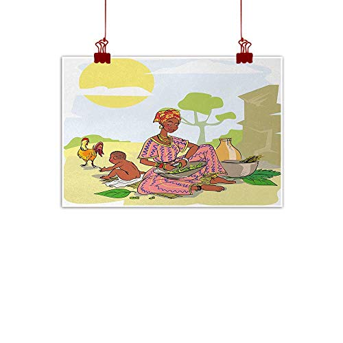 Dinner Cityscape - Sunset glow Fabric Cloth Rolled African Woman,Mother with Her Baby Cooking Dinner Time Rooster Vegetables Maternity Theme,Multicolor 24