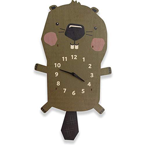 Birch Robot Beaver Wood Wall Pendulum Clock, Wall Decor for Baby Nursery, Kids Playroom, Bedroom, Woodland Nursery
