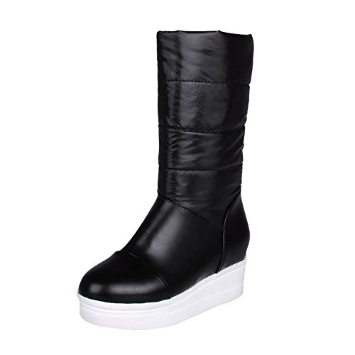 High Heels PU Round Black Toe Allhqfashion On Pull Women's Closed Boots Solid qwCtA4Ux