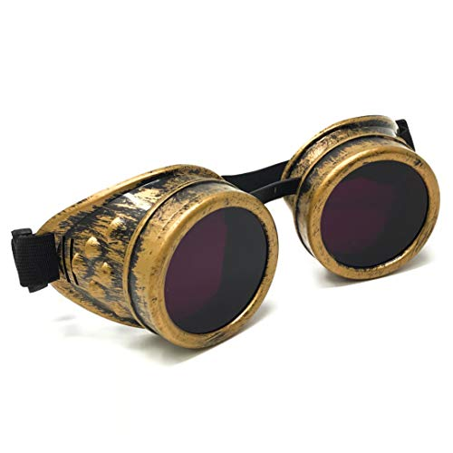 Steampunk Victorian Goggles Rave Glasses in Vintage Gold, Costume Accessory,Purple Lenses