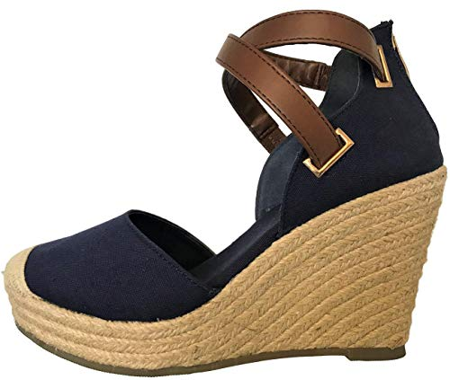 Emery-1 Women Espadrille Platform Wedge Cap Toe Cross Strap Shoe Sandal Blue Denim