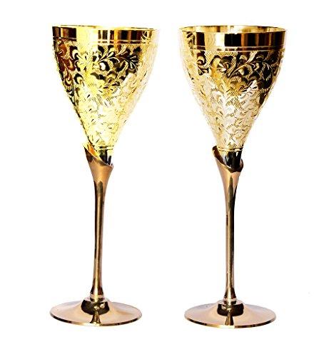 Rastogi Handicrafts Golden Plated Brass Wine Glass Goblet Home Kitchen Drink Ware Set Diwali Gift Item