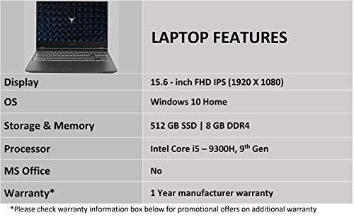Lenovo Legion Y540 9th Gen Intel Core i5 15.6 inch FHD Gaming Laptop (8GB/512GB SSD/NVIDIA GTX 1650 4GB Graphics/Windows 10/Black/2.3Kg),81SY00CKIN