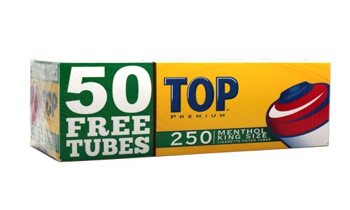 Top Menthol RYO Cigarette Tubes - King Size - 250ct Box (4 Boxes) (Best Menthol Cigarette Tubes)