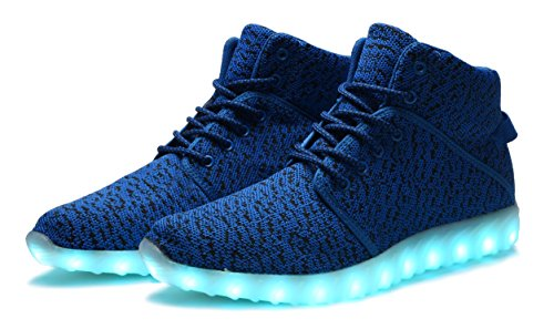 Up for Sneakers Blue High Mens Top Rechargeable Womens DEMANGO Flashing Light Shoes Led IxREE7Pq