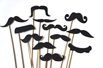 Amazoncom 12 Black Mustaches On A Stick Photo Booth Props