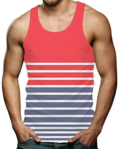 RAISEVERN Mens 3D Printed Design Tank Top Funny Sleeveless Shirt Blue White and Red Striped Graphic Tees XL