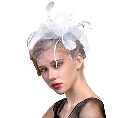 VBIGER Fascinators Hat Women Tea Party Headwear Cocktail Flower Mesh Feather Headband Wedding Bridal Top Hat Hair Clip (Cocktail White Top Hat Headband)