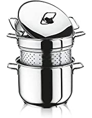 Turkish stainless steel Cooking Pot for vegetables and Coscos and Spaghetti - stainles steel- size 26