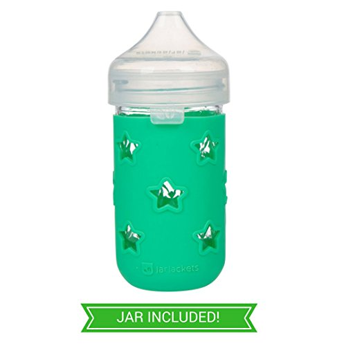 JarJackets Sippy Jar - 12oz Jelly Jar + Silicone Sippy Lid & Sleeve (1, - For Face Glasses Choosing