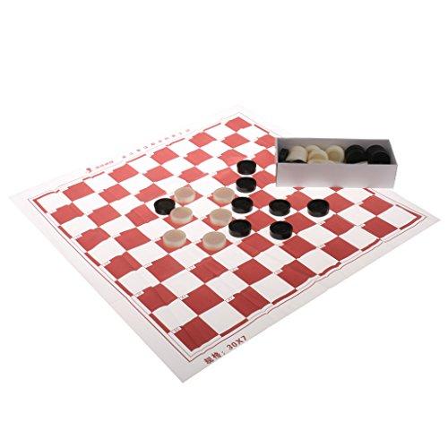 Baoblaze ポータブル 10x10 四角 チェッカーボード 40チェッカーピース 国際チェッカー ドラフトゲーム の商品画像