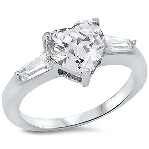 Ring Heart Baguette (Clear Cubic Zirconia Heart & Baguette Cz .925 Sterling Silver Ring SIZES 8)