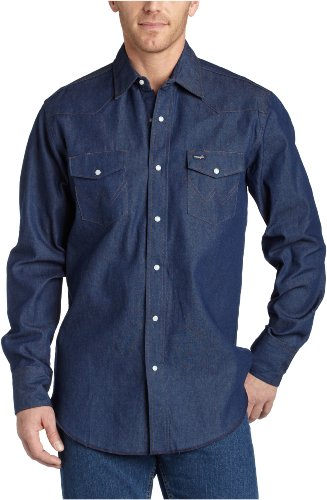 Wrangler Men's Authentic Cowboy Cut Work Western Long-Sleeve Firm Finish Shirt, Rigid Indigo Denim, (Wrangler Denim Cowboy Jeans)