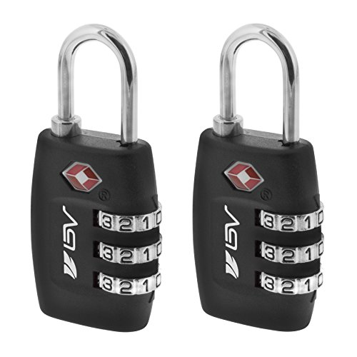 BV TSA Approved Travel Lock 2 Pack, 3 Digit Combination Lock for School Gym Locker,Luggage Suitcase Baggage Locks,Filing Cabinets,Toolbox,Case