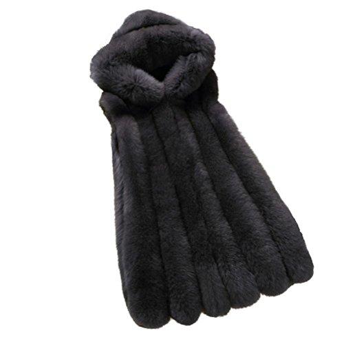 Black Waistcoat Vest Fur Cardigan Black Faux Jacket Gilet Down Hoodie Outwear Jacket Women's Manadlian XXL zIPaOq