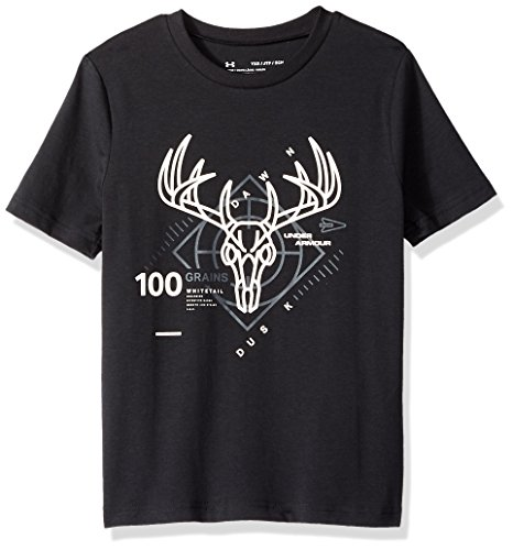 Under Armour Boys Heads Up Whitetail Tee, Black (001)/Stealth Gray, Youth Large