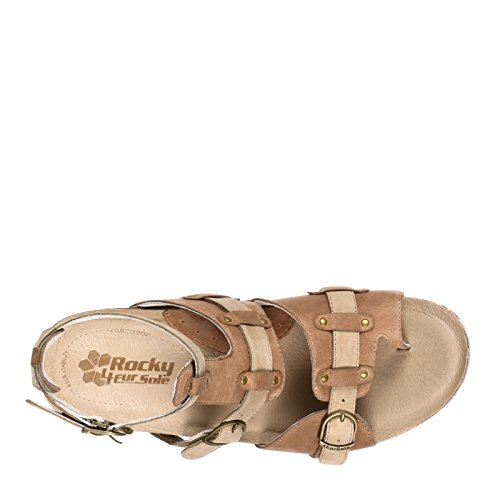 4EurSole Womens Set Free Strappy Wedge Sandal Taupe/Sand Camo Leather V44SJ1MB