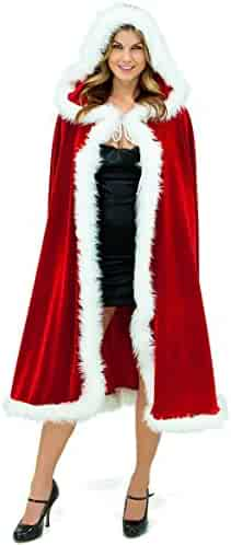 Adult Child Christmas Santa Claus Robe Hooded Cloak, Mrs Santa Claus Velvet Hooded Cape Christmas Robe