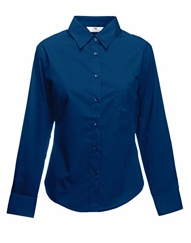 Fruit of the Loom Lady-Fit Long Sleeve Poplin Shirt 3XL Navy