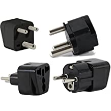 US to SOUTH AFRICA Travel Adapter Plug for USA/Universal to AFRICA Type M N D E (C/F) AC Power Plugs Pack of 4